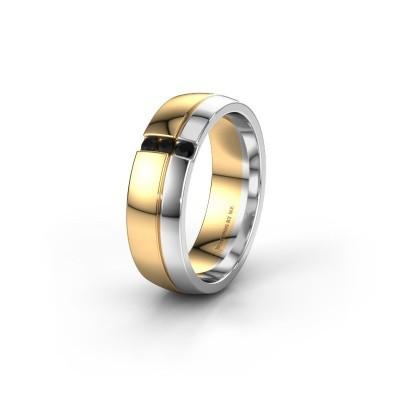 Trouwring WH0223L56A 585 goud zwarte diamant ±6x1.7 mm
