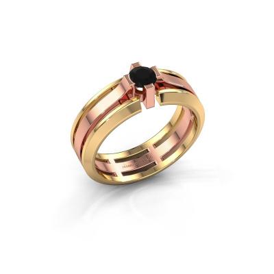 Herrenring Sem 585 Roségold Schwarz Diamant 0.48 crt