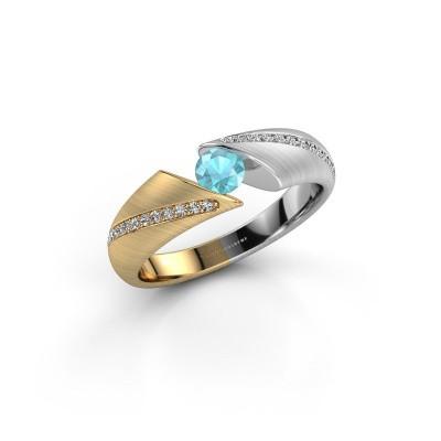 Foto van Ring Hojalien 2 585 goud blauw topaas 4 mm