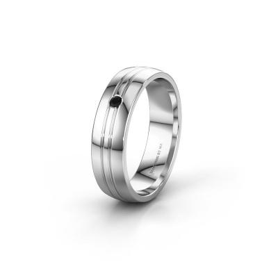 Trouwring WH0420L25X 925 zilver zwarte diamant ±5x1.5 mm