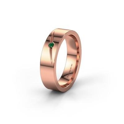 Trouwring WH0170L15A 375 rosé goud smaragd ±5x1.7 mm
