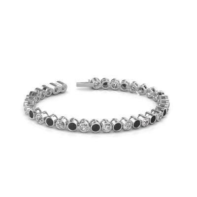 Foto van Tennisarmband Allegra 585 witgoud zwarte diamant 10.45 crt