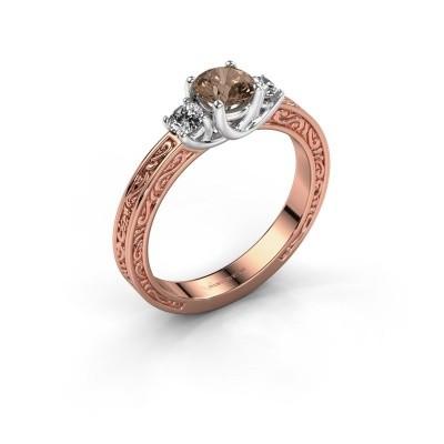 Verlovingsring Betty 1 585 rosé goud bruine diamant 0.70 crt