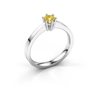 Engagement ring Noortje 585 white gold yellow sapphire 4 mm