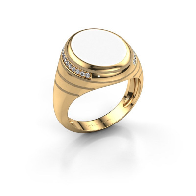 Zegelring Luuk 585 goud witte emaille 15x12 mm