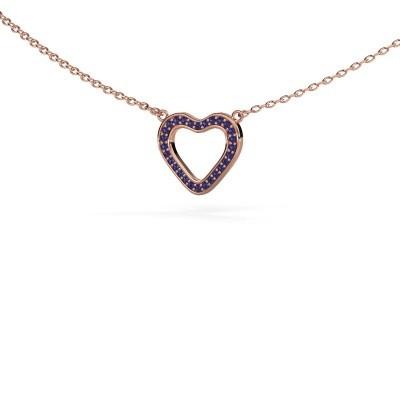 Hanger Heart 3 375 rosé goud saffier 0.8 mm