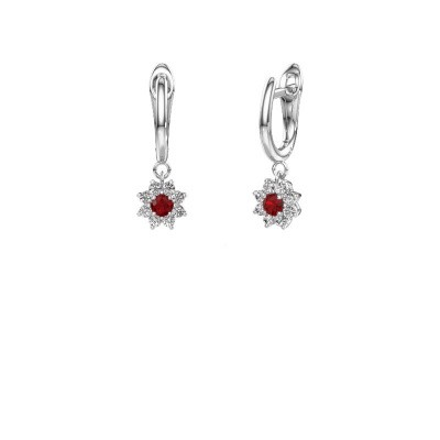 Drop earrings Camille 1 585 white gold ruby 3 mm