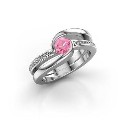 Foto van Ring Xenia 2 375 witgoud roze saffier 5 mm
