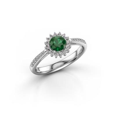 Foto van Verlovingsring Mariska 2 925 zilver smaragd 5 mm