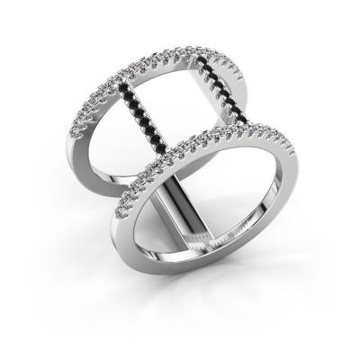 Ring Amee 925 zilver zwarte diamant 0.467 crt