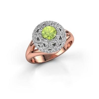 Ring Leonora 585 rosé goud peridoot 5 mm