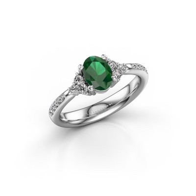 Foto van Verlovingsring Aleida 2 585 witgoud smaragd 7x5 mm