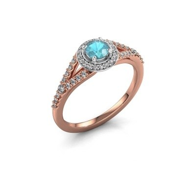 Verlovingsring Pamela RND 585 rosé goud blauw topaas 4 mm