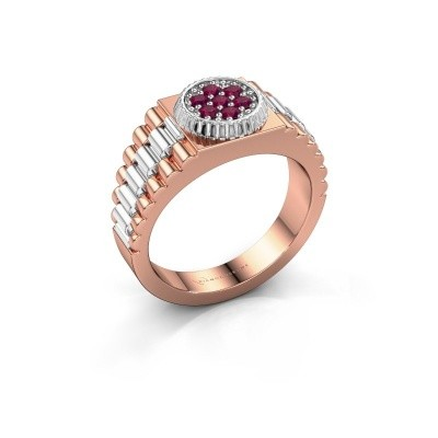 Foto van Heren ring Nout 585 rosé goud rhodoliet 2 mm