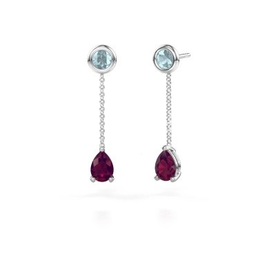 Picture of Drop earrings Laurie 3 950 platinum rhodolite 7x5 mm