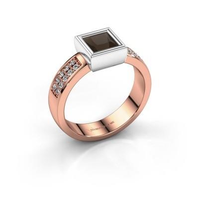 Foto van Ring Aimee 3 585 rosé goud rookkwarts 5 mm