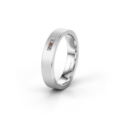 Wedding ring WH0106L14AM 950 platinum brown diamond ±4x1.7 mm
