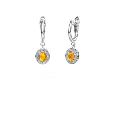 Picture of Drop earrings Nakita 950 platinum citrin 5x4 mm