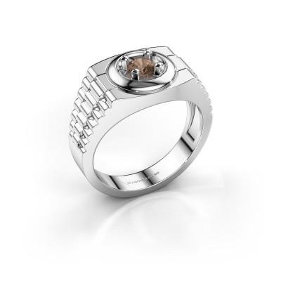 Foto van Rolex stijl ring Edward 585 witgoud bruine diamant 0.40 crt