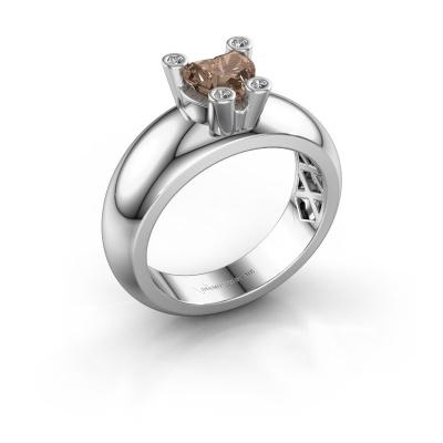 Ring Cornelia Heart 925 silver brown diamond 0.80 crt
