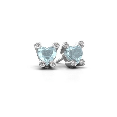 Picture of Stud earrings Cornelia Heart 925 silver aquamarine 6 mm