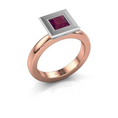 Stapelring Eloise Square 585 rosé goud rhodoliet 5 mm