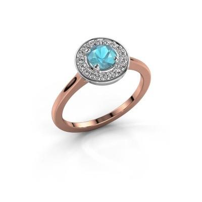 Foto van Ring Agaat 1 585 rosé goud blauw topaas 5 mm