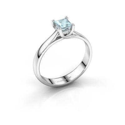 Engagement ring Mia Square 950 platinum aquamarine 4 mm