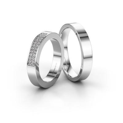 Foto van Trouwringen set WHR0283LM14AP ±4x2.3 mm 14 karaat witgoud diamant 0.007 crt
