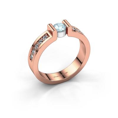 Verlovingsring Isabel 2 585 rosé goud aquamarijn 4 mm