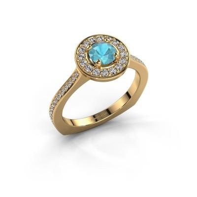 Ring Kanisha 2 585 goud blauw topaas 5 mm