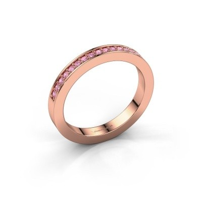 Stackable ring Loes 4 375 rose gold pink sapphire 1.3 mm