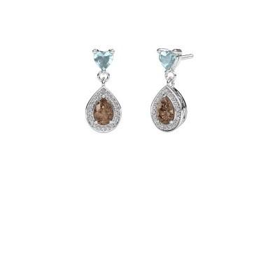 Picture of Drop earrings Susannah 950 platinum brown diamond 1.51 crt