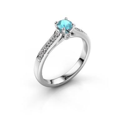 Engagement ring Valorie 2 950 platinum blue topaz 4.7 mm