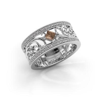 Ring Danae 950 platina bruine diamant 0.58 crt