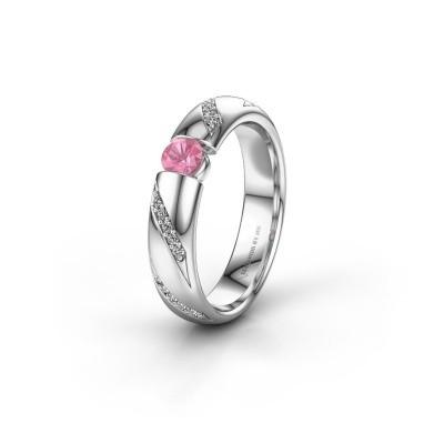 Trouwring WH2102L34A 585 witgoud roze saffier ±4x1.7 mm