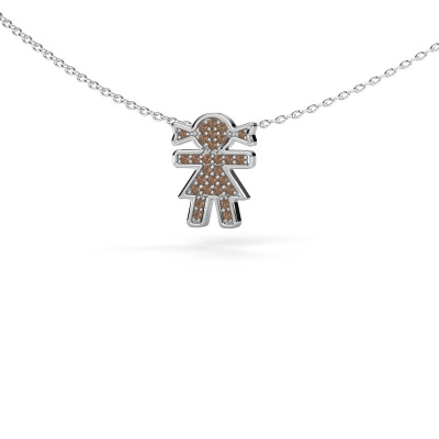 Collier Girl 585 witgoud bruine diamant 0.135 crt
