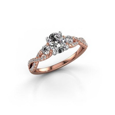 Picture of Engagement ring Marilou OVL 585 rose gold zirconia 7x5 mm