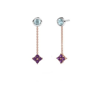 Picture of Drop earrings Ardith 585 rose gold amethyst 2 mm