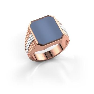 Foto van Rolex stijl ring Brent 3 585 rosé goud licht blauwe lagensteen 14x12 mm