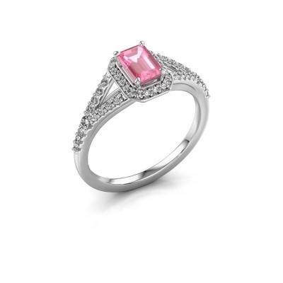 Verlovingsring Pamela EME 950 platina roze saffier 6x4 mm