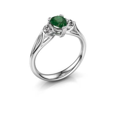 Foto van Verlovingsring Amie per 585 witgoud smaragd 7x5 mm
