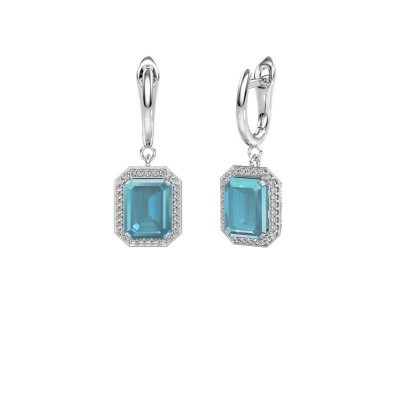 Picture of Drop earrings Dodie 1 585 white gold blue topaz 9x7 mm