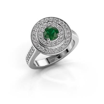 Ring Alecia 2 925 zilver smaragd 5 mm