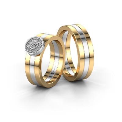 Trouwringen set WH2102LM ±6x1.8 mm 14 karaat goud diamant 0.06 crt