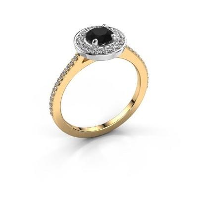 Foto van Ring Agaat 2 585 goud zwarte diamant 0.88 crt