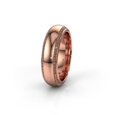 Trouwring WH6132L36C 375 rosé goud bruine diamant ±6x2.2 mm