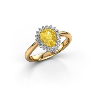 Picture of Engagement ring Tilly per 1 585 gold yellow sapphire 8x6 mm