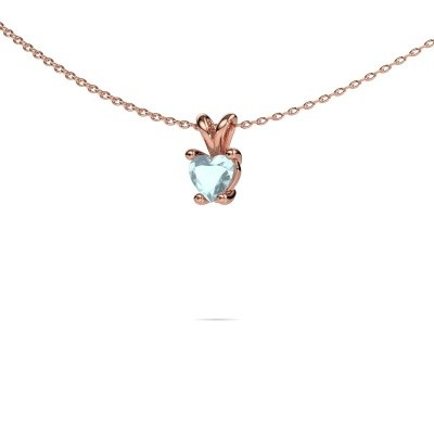 Picture of Necklace Sam Heart 375 rose gold aquamarine 5 mm