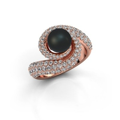Foto van Ring Klasina 375 rosé goud zwarte parel 7 mm
